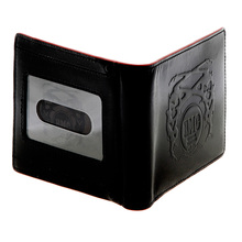 RMC Jeans  Black Leather Bill Fold and Credit Card Wallet with Red Leather Trim for Men REDM5514