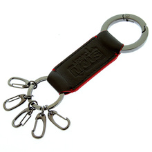 RMC Jeans Black Leather Key Holder with Red Leather Trim for Men REDM5518