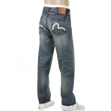 Evisu Slim Fit Dark Stonewashed Denim Jeans with White Logo Embroidered on Back Pockets EVIS1369