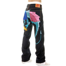 Yoropiko Vintage Cut Hungry Dragon 574 Royal Blue Sky Blue Pink Embroidered Raw Selvedge Denim Jeans YORO5416