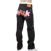 RMC Jeans Dark Indigo Vintage Cut Raw Denim Jeans with DIZZEE RASCAL Tongue N Cheek Purple Embroidery REDM5658