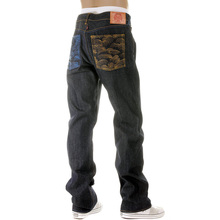 RMC Jeans Dark Indigo Vintage Cut Raw House Selvedge Denim Jeans with Mad Patch Sky and Buff Embroidery REDM3140