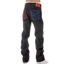 RMC Jeans Dark Indigo Vintage Cut Selvedge Raw Denim Jeans with Mad Patch Scarlet and Sky Embroidery REDM3129