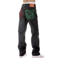 RMC Martin Ksohoh Mad Patch Scarlet and Green Embroidered Dark Indigo Raw Denim Jeans with Vintage Cut REDM3127