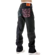 RMC Martin Ksohoh Dark Indigo Vintage Cut Selvedge Raw Denim Jeans with Lake Blue and Pink Embroidery REDM3132