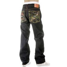 RMC Martin Ksohoh Mens Vintage Cut Dark Indigo Raw Denim Jeans with Dragon and Japan Map Embroidery REDM2891