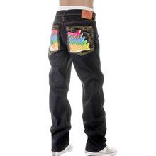 RMC Martin Ksohoh Mens Dark Indigo Vintage Cut Raw Selvedge Jeans with Carp Embroidery REDM2896