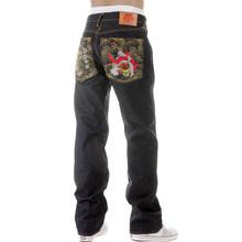 RMC Martin Ksohoh Dark Indigo 11 Vintage Cut Raw Selvedge Denim Jeans with Fujin and Raijin Embroidery REDM2900