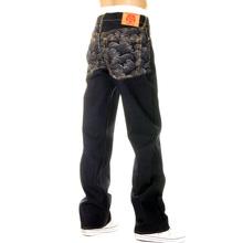 RMC Super Exclusive Embroidered Silver Tsunami Wave Dark Indigo Vintage Cut Raw Denim Jeans for Men REDM6217