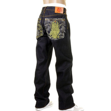 RMC Martin Ksohoh Dark Indigo 4 Face silver and gold God symbol Embroidered Vintage Cut Raw Denim Jeans REDM5638