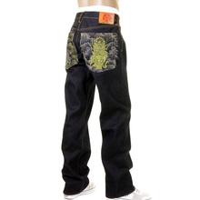 RMC Martin Ksohoh Dark Indigo 4 Face silver and gold God symbol Embroidered Vintage Cut Raw Denim Jeans REDM5638