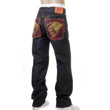 RMC Jeans Vintage Cut Dark Indigo Cotton House Selvedge Raw Denim Jeans with Akasarugumi Embroidery REDM5644