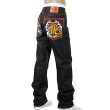 RMC Martin Ksohoh Vintage Cut Edo Tiger Embroidered Dark Indigo 100% Cotton Raw Denim Jeans for Men REDM5639