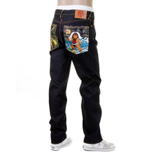 RMC Jeans Slim Fit Embroidered Genius Hero Momotaro2 Dark Indigo Raw Selvedge Denim Jeans for Men REDM2702