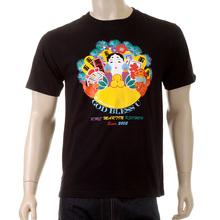 RMC Martin Ksohoh Mens Regular Fit Crew Neck Short Sleeve God Bless U Printed T-shirt in Black REDM3968