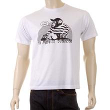 RMC Martin Ksohoh Short Sleeve Regular Fit Mens Crew Neck No Monkey Business Printed T-shirt in White REDM5033