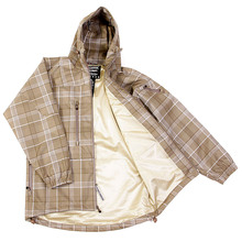 Yoropiko Martin Yat Ming Regular Fit Hooded Checked Coffee Coloured Functional Jacket REDM3160