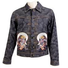 RMC Jeans Fujin and Raijin on Tsunami Wave Embroidered Cotton Vintage Cut Raw Selvedge Denim Jacket REDM3856