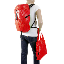 RMC MKWS Unisex Lightweight Red Nylon Backpack with Self-coloured Signature Logo on Top Flap REDM2129