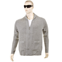 Thug or Angel Sweater Men's Jet Black collection  grey-marl zip-up  showl collar knitted cardigan. JBLK3904