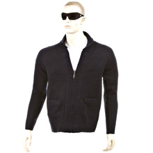 Thug or Angel Men's Jet Black collection  navy zip-up  showl collar knitted cardigan. JBLK3905