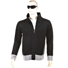 Thug or Angel Sweater Men's Jet Black collection knitted black/grey trim zip-up cardigan. JBLK3956