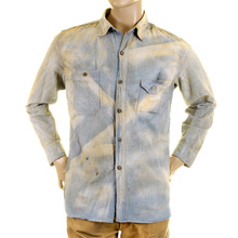 Sugarcane Regular Fit Blue Chambray SC25355H Long Sleeve Vintage Work Shirt for Men CANE2834