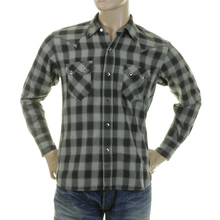 Sugarcane Mens SC25371 Regular Fit Long Sleeve Grey Check Western Shirt for Men CANE2825