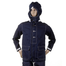 Sugarcane Lightweight Full Zip Regular Fit SC12164 Navy Herringbone Hooded Jacket for Men CANE2104