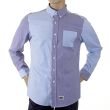 RMC MKWS Mens Regular Fit Blue and Navy Patch Shirt with Long Sleeve Button Down Collar REDM2108