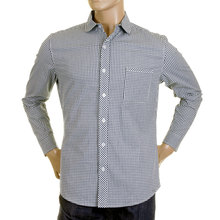 RMC Martin Ksohoh MKWS Mens Navy Check Soft Penny Collar Long Sleeve Regular Fit Shirt REDM2309