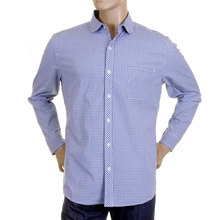 RMC Martin Ksohoh MKWS Mens Blue Check Soft Penny Collar Long Sleeve Regular Fit Shirt REDM2310