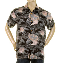 RMC Martin Ksohoh Regular Fit Navy Hawaiian Short Sleeved Printed Shirt REDM0907