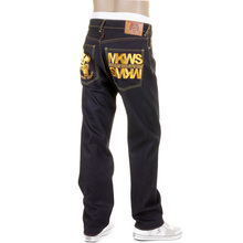 RMC Jeans Empire Cyber Monkey Slimmer Cut Gold Embroidered Model 1001 Denim Jeans REDM1148