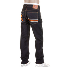 RMC Jeans Model 1001 MKWS Slimmer Cut Burnt Orange Skull and Crossbones Raw Denim Jeans REDM1153