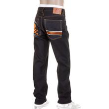 RMC Jeans Model 1001 MKWS Slimmer Cut Burnt Orange Skull and Crossbones Raw Denim Jeans REDM1153