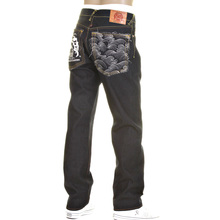 RMC Model 1001 Slimmer Cut Silver Logo and Tsunami Wave Dark Indigo Selvedge Raw Denim Jeans REDM0239