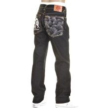 RMC Model 1001 Slimmer Cut Silver Logo and Tsunami Wave Dark Indigo Selvedge Raw Denim Jeans REDM0239