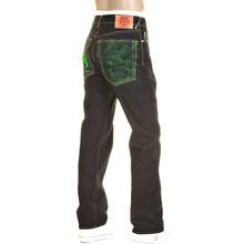 RMC Jeans Green Logo and Tsunami Wave Dark Indigo 11030 Slimmer Cut Raw Selvedge Denim Jeans REDM0096