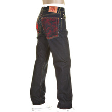 RMC Model 1001 Slimmer Cut Red Tsunami Wave and Logo Dark Indigo Selvedge Raw Denim Jeans REDM0091