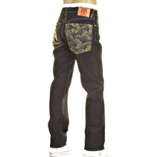 RMC jean Martin Ksohoh Gold Logo and Tsunami wave 1001 slimmer cut model denim jean REDM0240