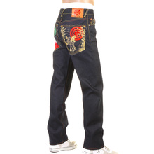 RMC Raw Selvedge Denim 1001 Slimmer Cut model Dark Indigo Jeans with Japanese Art Embroidery REDM0464
