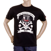 RMC Crew Neck Black Regular Fit T Shirt with Smoking Skull and Crossbones Print REDM2092