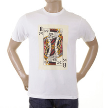 RMC Martin Ksohoh Crew Neck Short Sleeve Skull Poker Playing Card Printed T Shirt in White REDM1166
