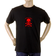 RMC Regular Fit RQT1056B Flock Printed Red Skull and Crossbones Black Short Sleeve Crew Neck T-Shirt REDM2120