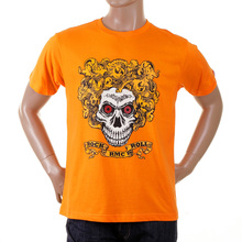 RMC Martin Ksohoh Regular Fit Short Sleeve Orange Crew Neck Rock and Roll Skull Printed T-Shirt REDM2093