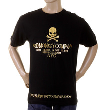 RMC Martin Ksohoh Crew Neck RQT1055 Regular Fit NYC Gold Skull Printed Short Sleeve Black T-Shirt REDM2127