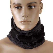 RMC MKWS Mens Reversible Neck Warmer Snood in Charcoal Grey Fleece with Tsunami Wave Design REDM5495A