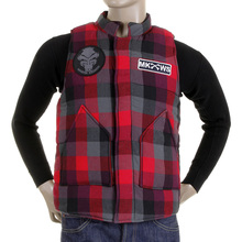 RMC Martin Ksohoh Mens Down Filled Regular Fit Red Check Padded Gilet REDM5836