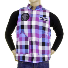 RMC Martin Ksohoh Down Filled Purple and Blue Check Regular Fit Padded Gilet for Men REDM5837